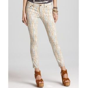 FREE PEOPLE Chevron Patterned Skinny Jeans